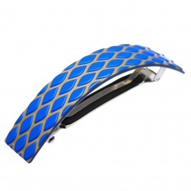 Large size rectangular shape Hair barrette in Fluo electric blue and gold