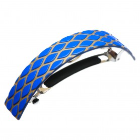 Very large size rectangular shape Hair barrette in Fluo electric blue and gold