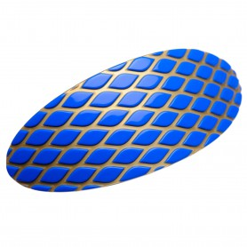 Very large size oval shape Hair barrette in Fluo electric blue and gold