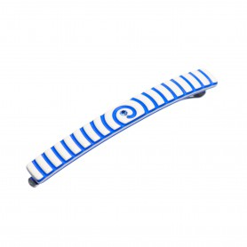 Small size skinny rectangular shape Bobby pin in Ivory and fluo electric blue