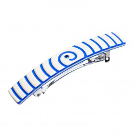 Small size rectangular shape Hair clip in Ivory and fluo electric blue