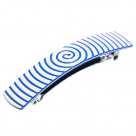 Medium size rectangular shape Hair barrette in Ivory and fluo electric blue