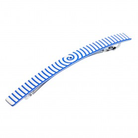 Medium size long and skinny shape Hair barrette in Ivory and fluo electric blue