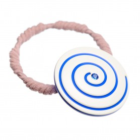 Medium size round shape Hair elastic with decoration in Ivory and fluo electric blue