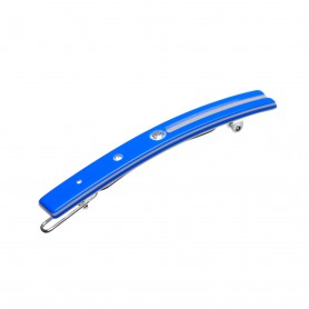 Small size skinny rectangular shape Hair clip in Fluo electric blue and light grey