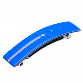 Medium size rectangular shape Hair barrette in Fluo electric blue and light grey