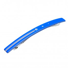 Medium size long and skinny shape Hair barrette in Fluo electric blue and light grey