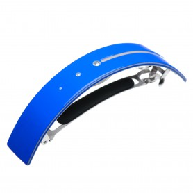 Very large size rectangular shape Hair barrette in Fluo electric blue and light grey