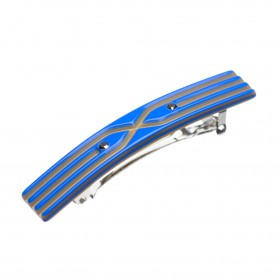 Small size rectangular shape Hair clip in Fluo electric blue and gold