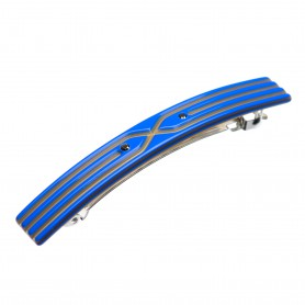 Small size rectangular shape Hair barrette in Fluo electric blue and gold
