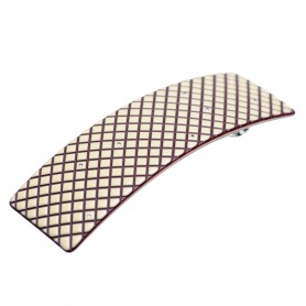 Medium size rectangular shape Hair barrette in Ivory and violet