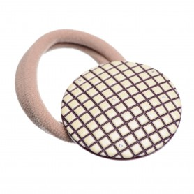 Medium size round shape Hair elastic with decoration in Ivory and violet