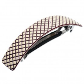 Large size rectangular shape Hair barrette in Ivory and violet