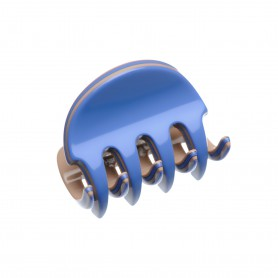 Very small size regular shape Hair claw clip in Sky blue and hazel