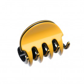 Very small size regular shape Hair claw clip in Maize yellow and black