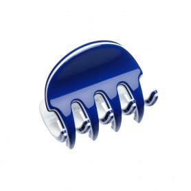 Very small size regular shape Hair claw clip in Blue and white