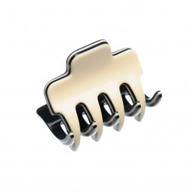 Very small size regular shape Hair claw clip in Ivory and black