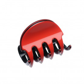 Very small size regular shape Hair claw clip in Marlboro red and black
