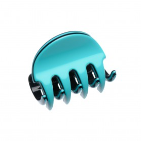 Very small size regular shape Hair claw clip in Turquoise and black