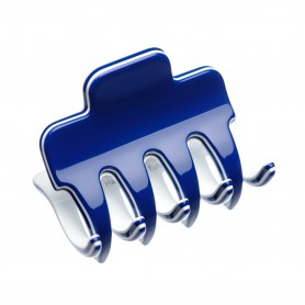 Small size regular shape Hair jaw clip in Blue and white