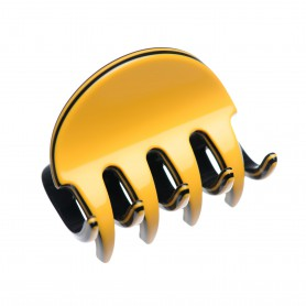 Small size regular shape Hair jaw clip in Maize yellow and black
