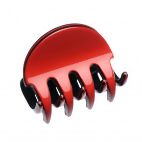 Small size regular shape Hair jaw clip in Marlboro red and black