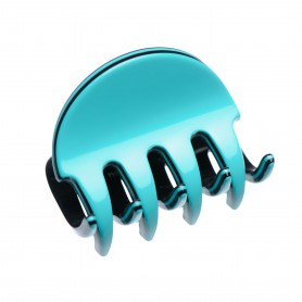 Small size regular shape Hair jaw clip in Turquoise and black