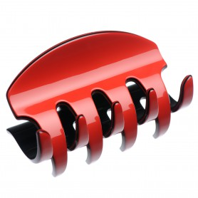 Large size regular shape Hair jaw clip in Marlboro red and black
