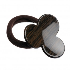 Medium size flower shape Hair elastic with decoration in Wood
