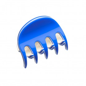 Very small size regular shape Hair claw clip in Fluo electric blue and ivory
