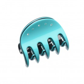 Very small size regular shape Hair jaw clip in Turquoise and black