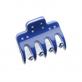 Very small size regular shape Hair jaw clip in Blue and white