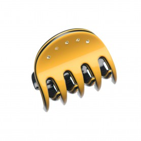 Very small size regular shape Hair jaw clip in Maize yellow and black