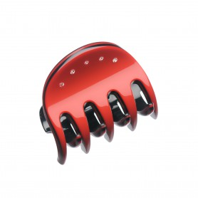 Very small size regular shape Hair jaw clip in Marlboro red and black