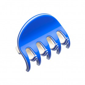 Small size regular shape Hair jaw clip in Fluo electric blue and ivory