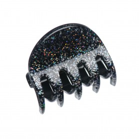 Small size regular shape Hair jaw clip in Silver glitter