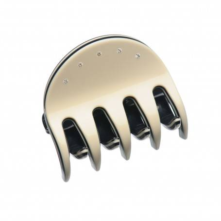 Small size regular shape Hair jaw clip in Ivory and black