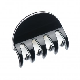Medium size regular shape Hair jaw clip in Black and white