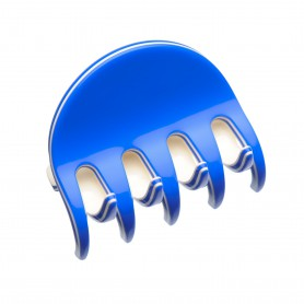 Medium size regular shape Hair jaw clip in Fluo electric blue and ivory