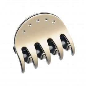 Medium size regular shape Hair jaw clip in Ivory and black