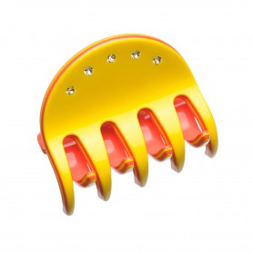 Medium size regular shape Hair jaw clip in Yellow and coral