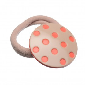 Medium size round shape Hair elastic with decoration in Hazel and coral