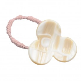 Medium size flower shape Hair elastic with decoration in Beige pearl