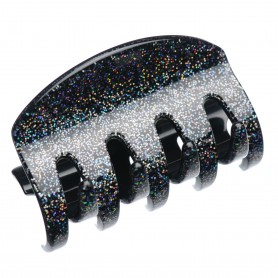 Large size regular shape Hair jaw clip in Silver glitter