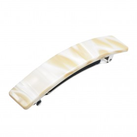 Medium size rectangular shape Hair barrette in Beige pearl