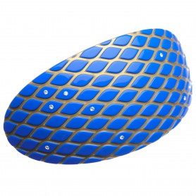Extra large size oval shape Hair barrette in Fluo electric blue and gold
