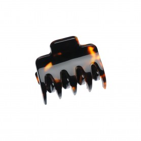 Very small size regular shape Hair claw clip in Dark brown demi