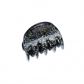 Very small size regular shape Hair claw clip in Silver glitter