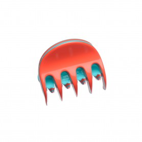 Very small size regular shape Hair claw clip in Coral and turquoise