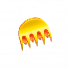Very small size regular shape Hair claw clip in Yellow and coral